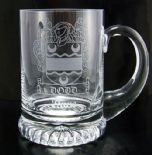 FAMILY CREST COAT OF ARMS Glass Tankard ref LCT1